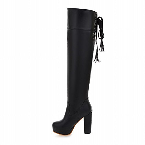 Mee Shoes Womens Knee-high Sexy High heel Boots Black i9iQ7