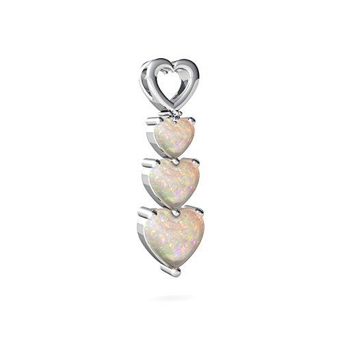 14kt White Gold Opal and Diamond 4mm Heart Past Present Future Pendant