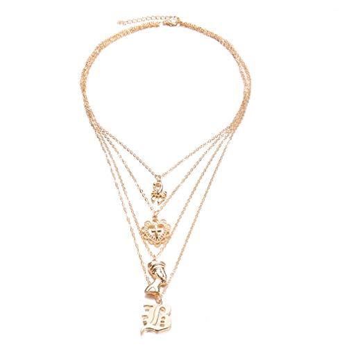 - SOURBAN Women Boho Vintage Scorpion Heart Cross Portrait Pendant Layered Necklace
