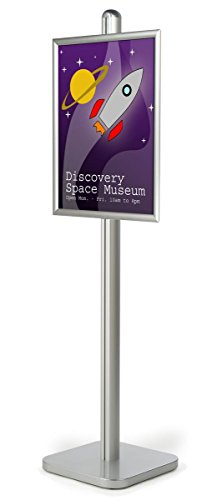 22x28 Sign Stand with Front-loading Design, 6-foot-tall Floor Stand for Posters with Height-adjustable Poster Frame, Aluminum (Silver) by Displays2go