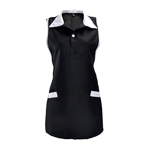 Enerhu Women Sleeveless Workwear Working Dress Clothing Server Waiter Uniform Black