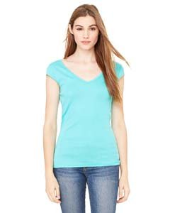 (Bella Ladies Deep V Neck Cap Sleeve T Shirt - Teal - Medium)
