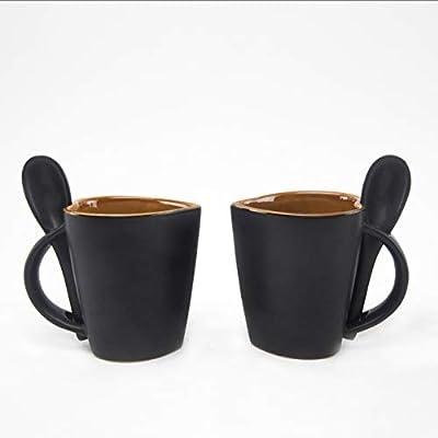 HS Hindustani Saudagar Hand Painted Ceramic Heart Shape Coffee Mug Brown with Spoon 300 ml Set of 2