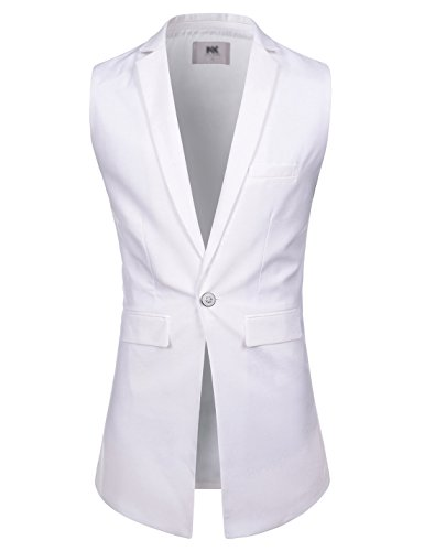 NEARKIN Mens Notched Lapel One Button Slim Fit Long Waistcoat