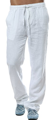 utcoco Men's Mid Waist Straight Leg Linen Thin Pants X-Large White