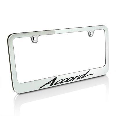 Honda Accord Script Style Chrome Metal License Plate ()
