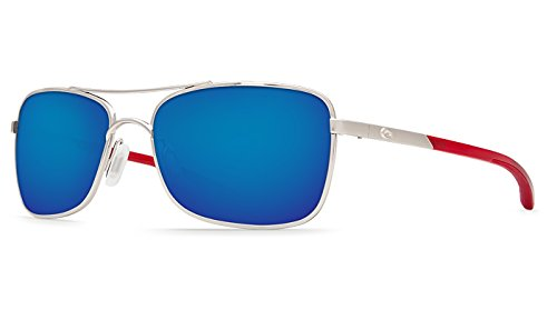Costa Palapa Sunglasses Palladium w/Red Temples / Blue Mirror 580P