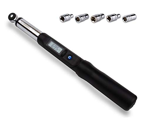 Summit Tools Digital Torque Wrench [ES2-030CN] with LCD Display, 1/4 in. Driver, 1.11 to 22.12 ft. lb. Torque Range, Socket Set and User Manual, Calibrated ()