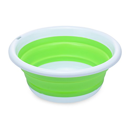 - PER-HOME Multi-purpose Collapsible Dish Tub Bowl BPA-Free Round Lightweight Collapsible Wash Basin(Green)