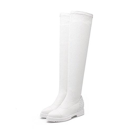 High Pull Top On Solid Heels Women's Kitten Boots PU White Allhqfashion SHwxB0RqS
