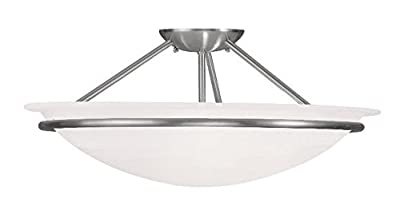 Semi Flush Mounts 3 Light With White Alabaster Steel Drum Brushed Nickel size 20 in 225 Watts - World of Crystal