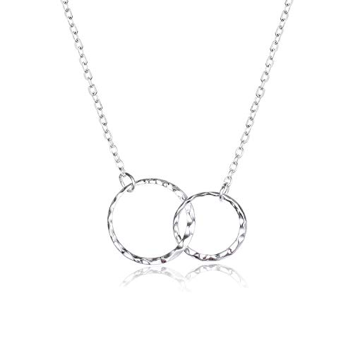 Mother Daughter Necklace 925 Sterling Silver Hammered Two Interlocking Infinity Double Circles Necklace