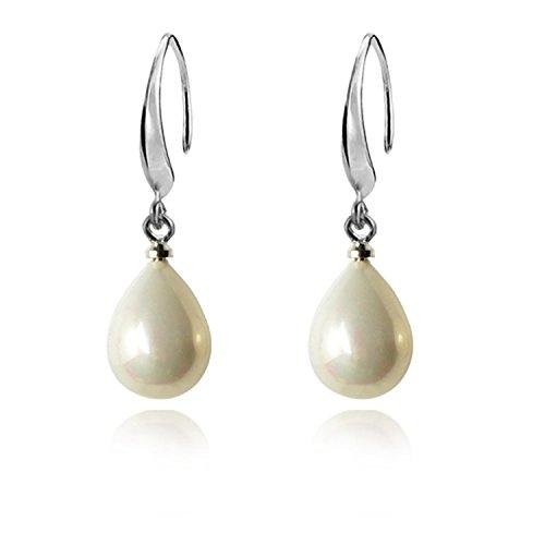 Lureme 10mm Teardrop Cream Faux Pearl Silver Tone French Hook Drop Earrings for Women 02001446* (Pearl Cream Earrings)