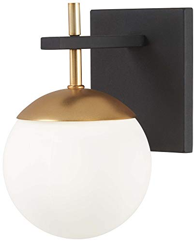 Weathered Brass Wall - George Kovacs P1350-618 Alluria Wall Sconce, 1-Light 75 Watts, Weathered Black with Autumn Gold