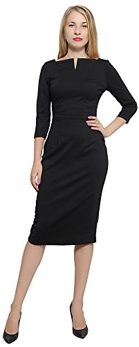Marycrafts Women's Work Office Business Square Neck Sheath Midi Dress 14 Black ()