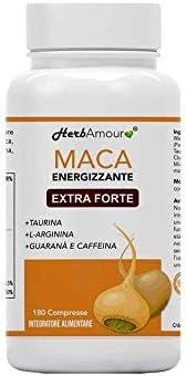 Herbamour Maca   180 Capsulas Por 6 Meses De Alta Dosis En E.S. + L-Arginina + Vitamina B6 + Zinc + Taurina + Guaraná + Maca Peruana Con Extracto De Maca Andina   Proporción 10:1   Calidad Italiana