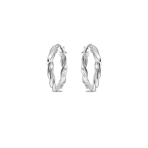 - Sterling Silver 3x20mm Twist Round Small Hoop Earrings for Women Girls, 3/4 Inch