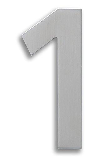 Edelstahl Hausnummer 1 inkl Hausnummernschild wetterfest /& rostfrei N.01S.E Montagematerial