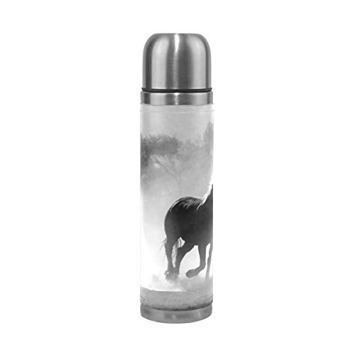 - Black White Horse Running Field Stainless Steel Water Bottle Leak-proof Double Walled Vacuum Insulated Flask Travel Mug Thermos Coffee Cup Mug Genuine Leather Cover 17 Oz