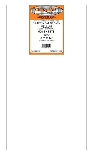 Clearprint 1020H Design Vellum Sheets, 20 Lb., 100% Cotton, 8-1/2 x 14 Inches, 500 Sheets Per Pack, 1 Each (12201712) by Clearprint (Image #2)