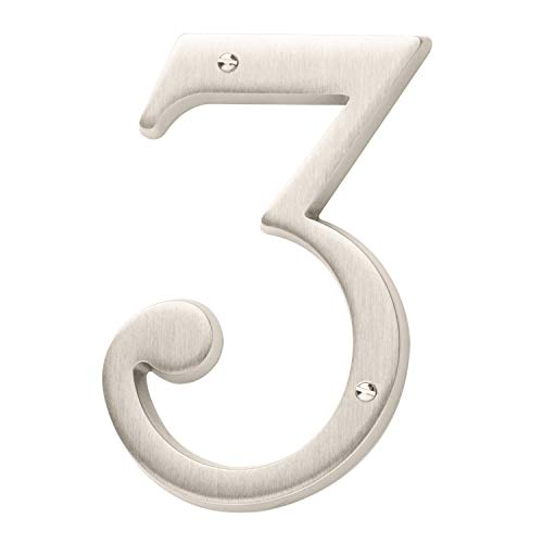 (Baldwin Estate 90673.150.CD Solid Brass Traditional House Number Three in Satin Nickel, 4.75