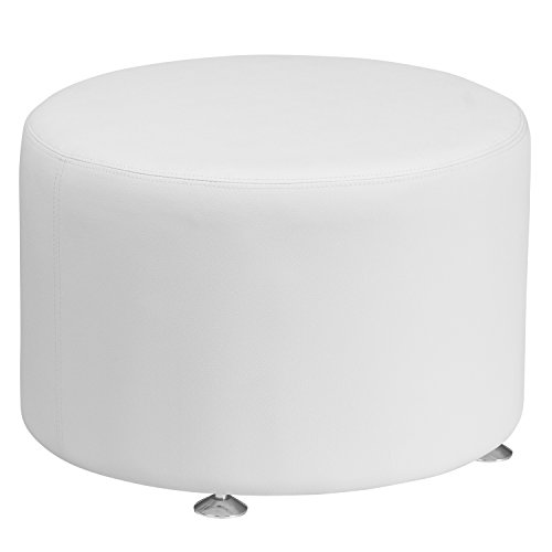 Flash Furniture HERCULES Alon Series Melrose White Leather 24'' Round Ottoman