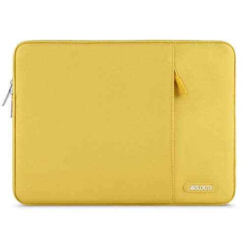 MOSISO Laptop Sleeve Bag Compatible 13-13.3 Inch MacBook Pro, MacBook Air, Notebook Computer, Vertical Style Water Repellent Polyester Protective Case Cover with Pocket, Yellow