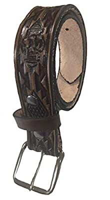 """Native Indian Design Handmade Mens Leather Belt Western Work Casual 1.5"""" Wide Color Cocoa Brown"""