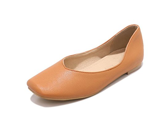 Slip Brown Dress Fashion Shoes Flats Ballet On Women's qxw0n8Ef8