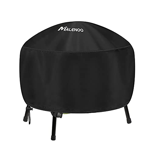 MALNEOO Fire Pit Cover Round Fits 28/30/32/34 Inch Fire Bowl, Heavy Duty 420D Polyester with Thick PVC Coating, Full Coverage Patio Outdoor Waterproof, Dustproof FirePit Covers, 34