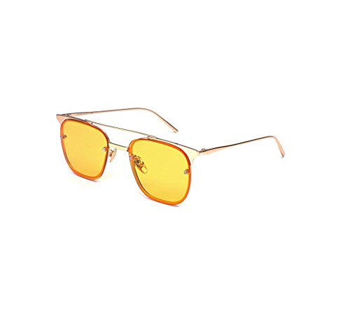Tou che Couple style personality sunglasses retro sunglasses transparent color (Yellow color, - Sunglasses Couple
