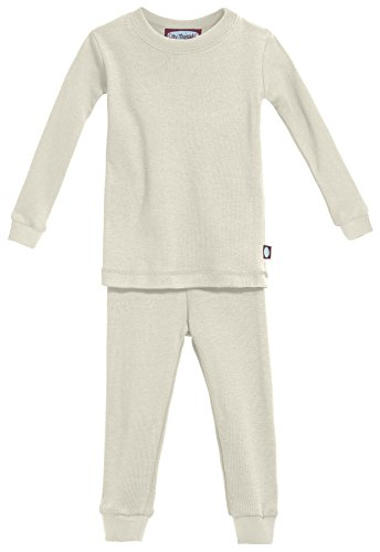 City Threads Certified Organic Thermal Pajama Set, Big Boys and Girls For Sensitive Skin/SPD/Sensory Friendly, Oatmeal, 10