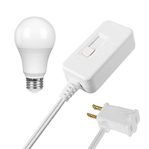 DEWENWILS Table Top Inline Dimmer Switch and Warm Dimmable LED Light Bulb Set for Lamp, Full Range Slide Control, 6.6 ft Extension Cord, UL Listed, White (Table Switch Led Dimmer Lamp)