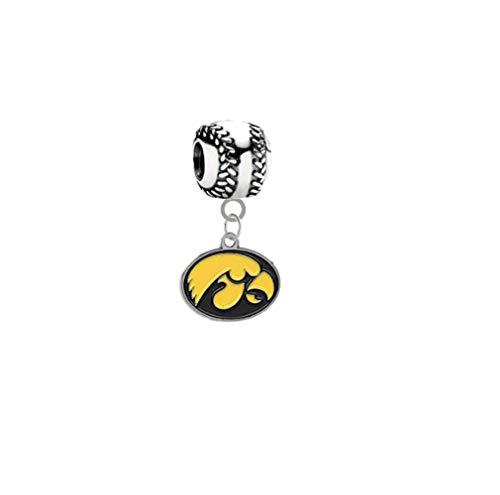 Iowa Hawkeyes Baseball 3D Universal European Bracelet Charm