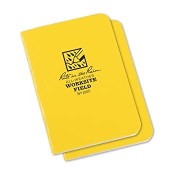 "Rite in the Rain All-Weather Worksite Stapled Notebook, 3 1/4"" x 4 5/8"", Yellow Cover, Worksite Field Pattern, 2 Pack (No. 1552)"
