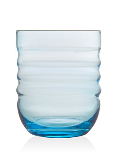 Luna Double Old Fashion Glass Tumbler Set of 4 - Light Blue