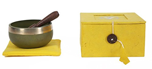 JIVE Tibetan Chakra Singing Bowl Set Palm Size SOLAR PLEXUS Yellow Chakra Singing Bowl - Premium Quality