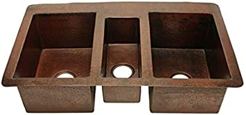 Triple Well Copper Farmhouse Sink Soluna Triple Bowl Copper Kitchen Sink 42 in Cafe Natural Finish Jumbo Copper Kitchen Sink with Exposed Flat Apron Front Premium Hammered Copper Sink