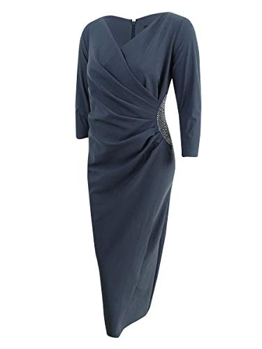 Alex Evenings Womens Plus Embellished Faux Wrap Gown Gray 22W
