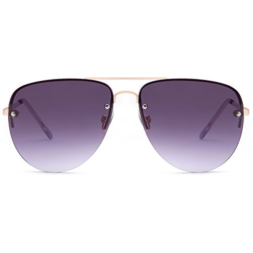 SUN LOUNGER Women's Oversized Metal Frame Classic Aviator Sunglasses with Spring Hinges – Gradient Purple Lens on Gold - Sunglasses Women Aviator On