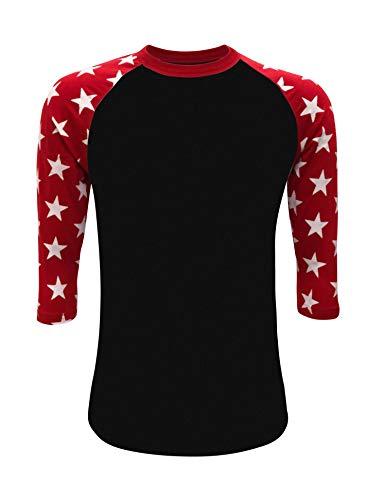 ILTEX Mens Raglan 3/4 Star Sleeves T-Shirt (XXX-Large, Black/Red)