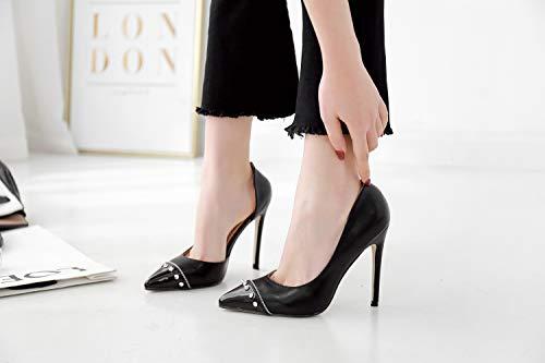 Femme Chaussures Talons Hauts Rivet Black Et À Fengjingyuan Talon Aiguille TqEFanA