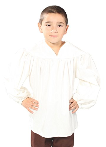 Alexanders Costumes Boys Renaissance Peasant Shirt, White, Medium/Large