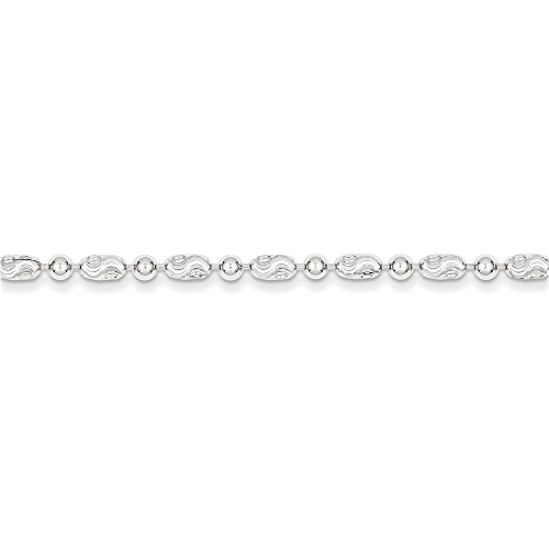 Jewelry Adviser Beads Sterling Silver 3mm Polished Round and Textured Oval Bead Chain Length 24