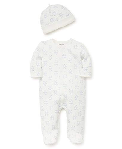 Little Me Baby Boys Footie and Hat, Marshmallow/Silver Lake Blue, 6 Months ()