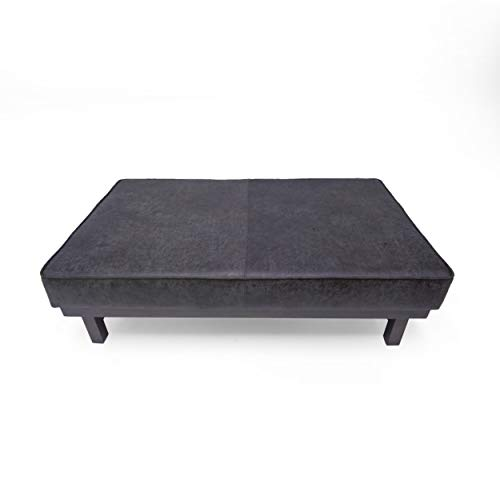 Great Deal Furniture Riva Ingersoll Modern Microfiber Cocktail Ottoman with Wood Frame, Slate