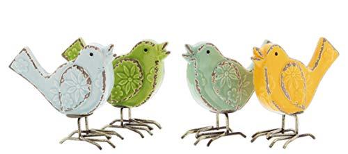 Set of 4 Distressed Ceramic Bird Figurines with Metal Legs in Blue, Green, Teal, Orange
