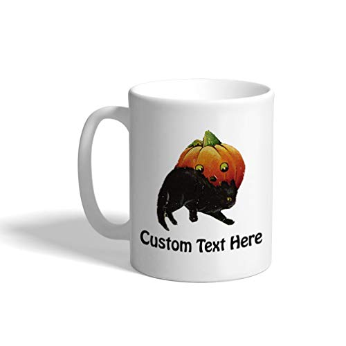 Custom Funny Coffee Mug Coffee Cup Pumpkin And Black Cat Halloween A White Ceramic Tea Cup 11 OZ Personalized Text Here]()