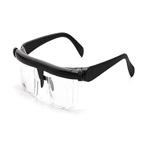 DADANDAN Adjustable Len Reading Glasses Myopia Eyeglasses -6D to +3D Variable Lens Correction Binocular Magnifying (Eye Prescription : Variable Focus, Frame Color : Black)