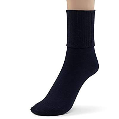 Silky Toes 3 or 6 Pk Women's Turn Cuff Bamboo Casual Socks Triple Roll Dress Crew Socks at Women's Clothing store
